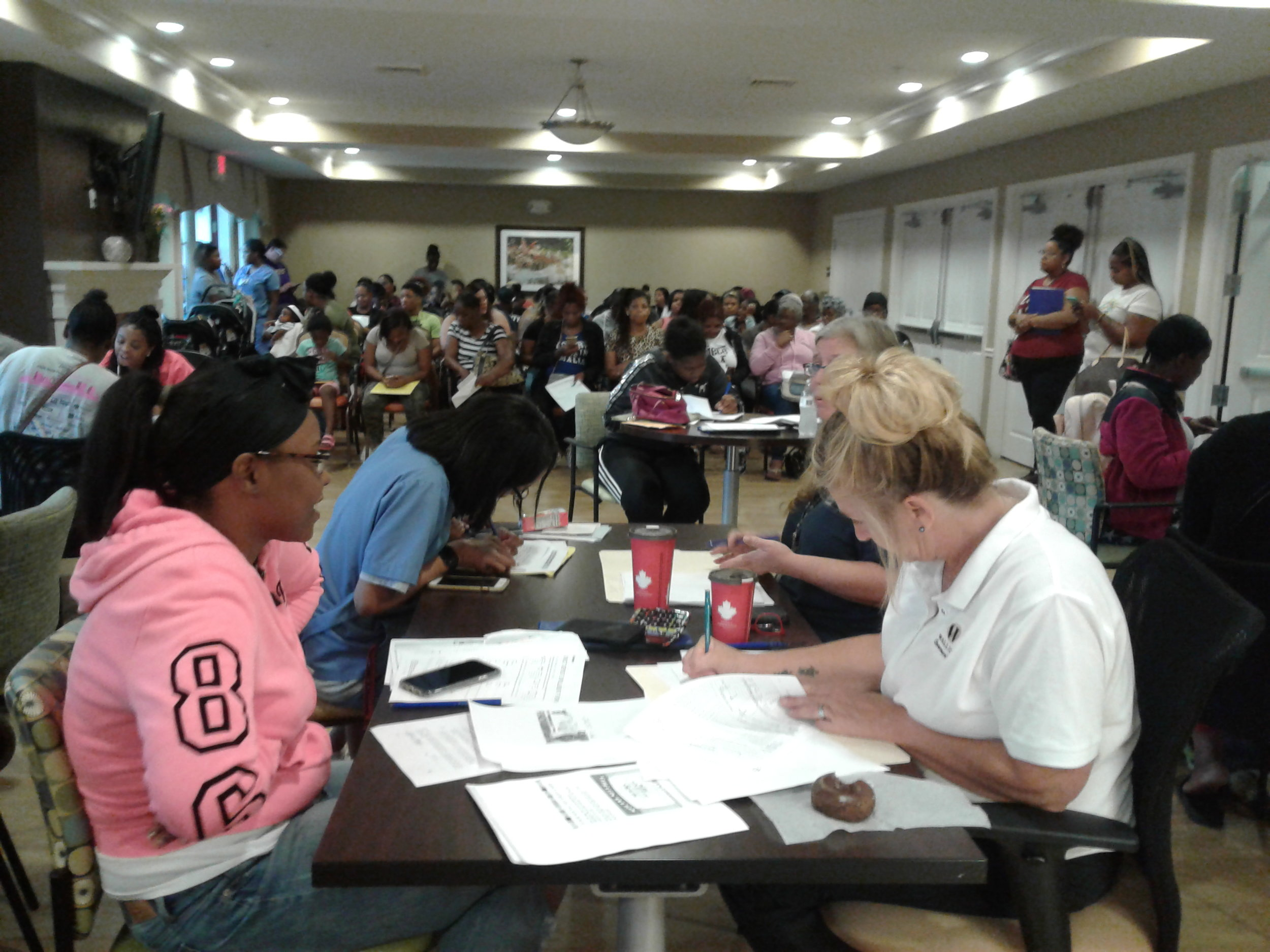 Applicants for Homeport's Blacklick Crossing development in Reynoldsburg filled the intake room set up at Eastway Village apartments in Whitehall.