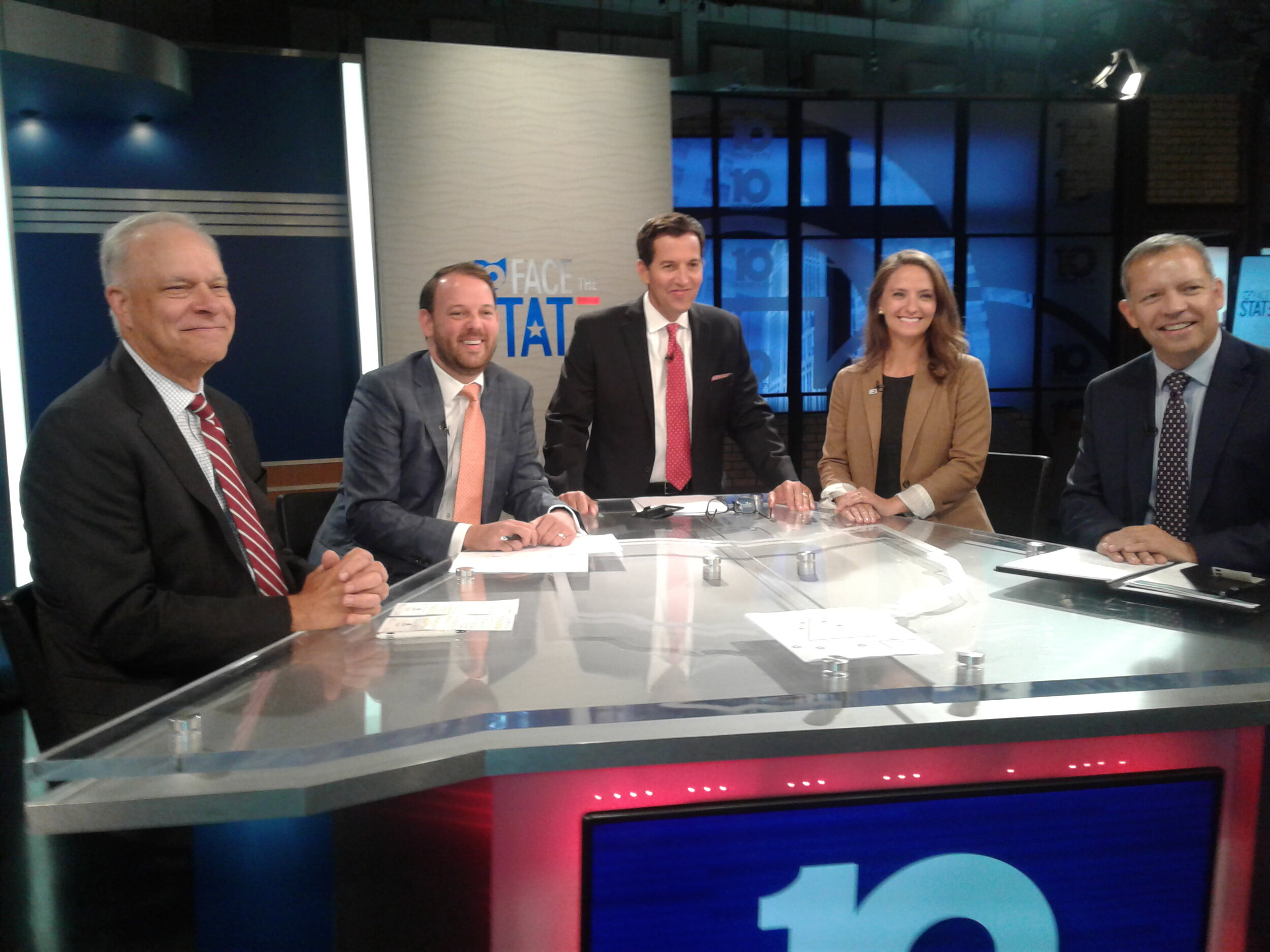 'Face the State' host Scott Light, center, was joined at 10TV studios by, left to right, Bruce Luecke, Brent Swander, Christina Muryn and Scott DiMauro.
