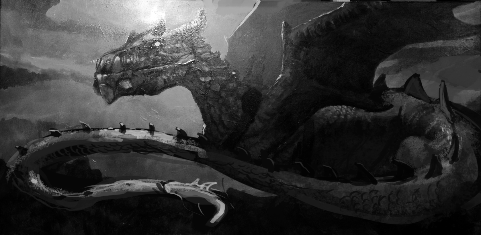 Dragon painting re-worked in Photoshop.