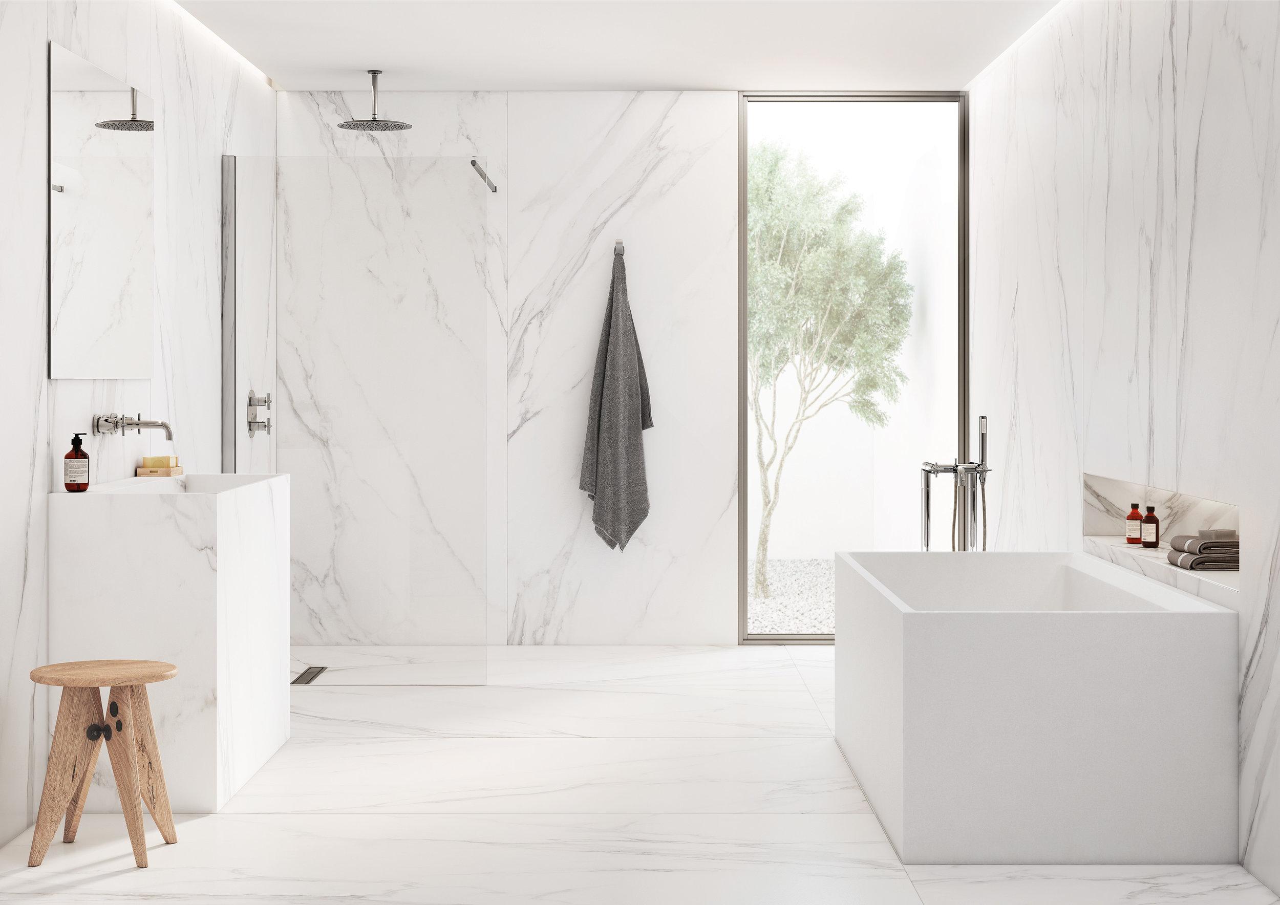 Ambient de bany per a presentar el nou producte ceràmic Thinbig ® , peces ceràmiques de grans dimensions i poc gruix que funcionen de paviment i de revestiment i amb les que tenim l'oportunitat de realitzar mobles sencers. Render imatge final   https://www.interiorvista.com