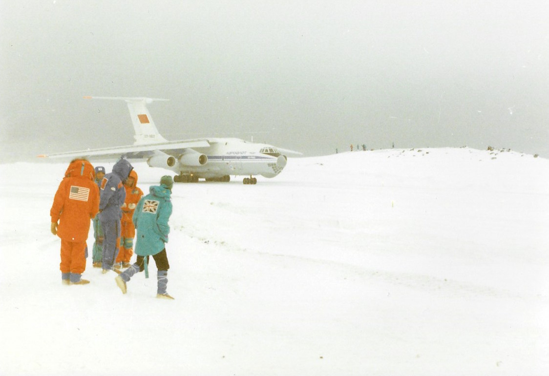 Trans-Antarctica expedition team watches Illyushin 76 leave King George Island. ©Trans-Antarctica-Per Breiehagen