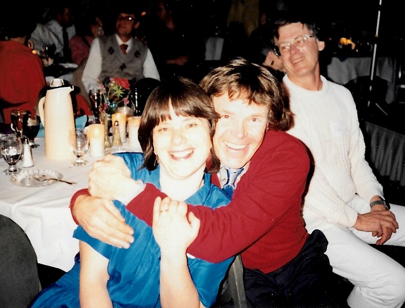 Cathy de Moll and Will Steger celebrate the expedition's return to Minneapolis, MN. March 1990. Photographer unknown