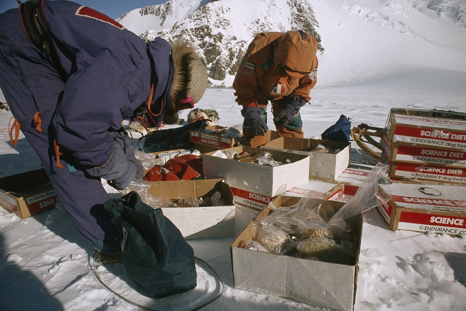 Each cache contained food for men and dogs, fuel for camp stoves, plus special treats and notes packed by the volunteers. Photo © Will Steger