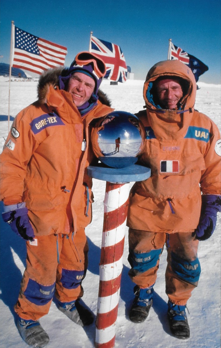 The 1989-1990 International Trans-Antarctica Expeditionco-leaders at the South Pole. Photo ©WillSteger-Gordon Wiltsie