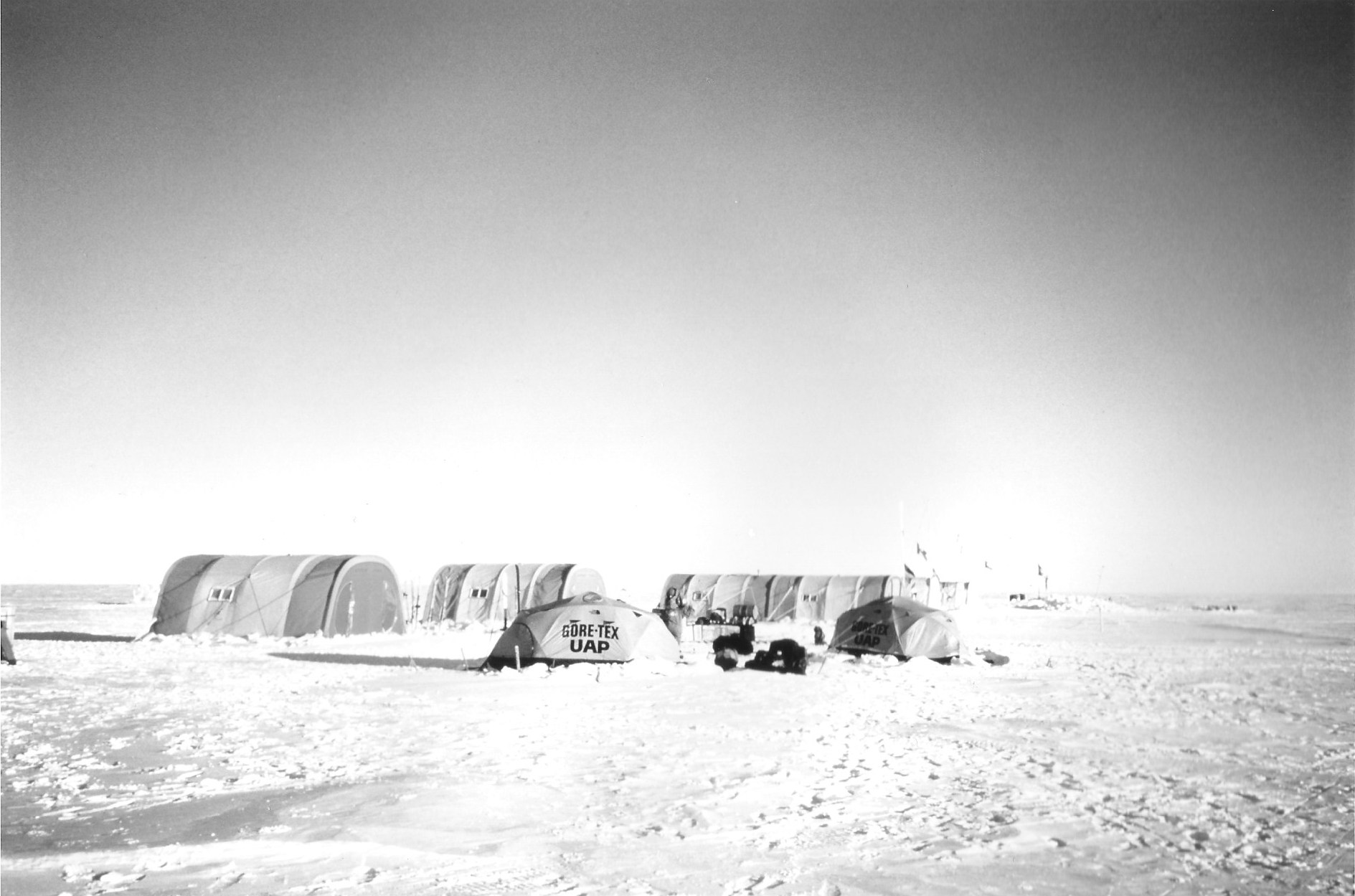 Patriot Hills base camp, where the journalists came to interview the expedition team and got stuck for two and a half weeks. November 1989. Photo: Jacqui Banaszynski