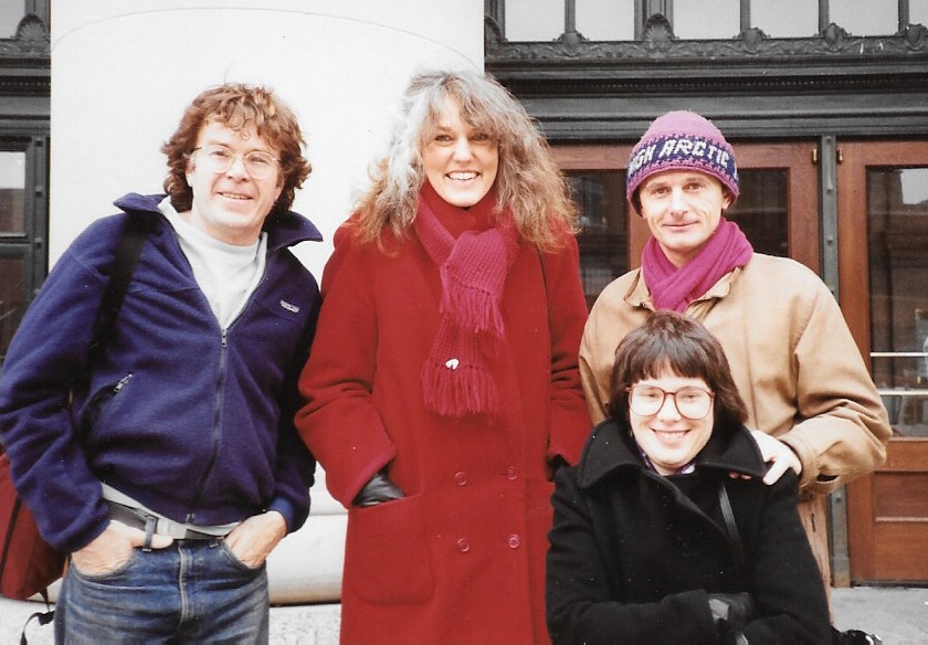 Will Steger, Jacqui Banazynski, Jean-Louis Etienne and Cathy de Moll in early days of Trans-Antarctica planning. Photographer unknown.