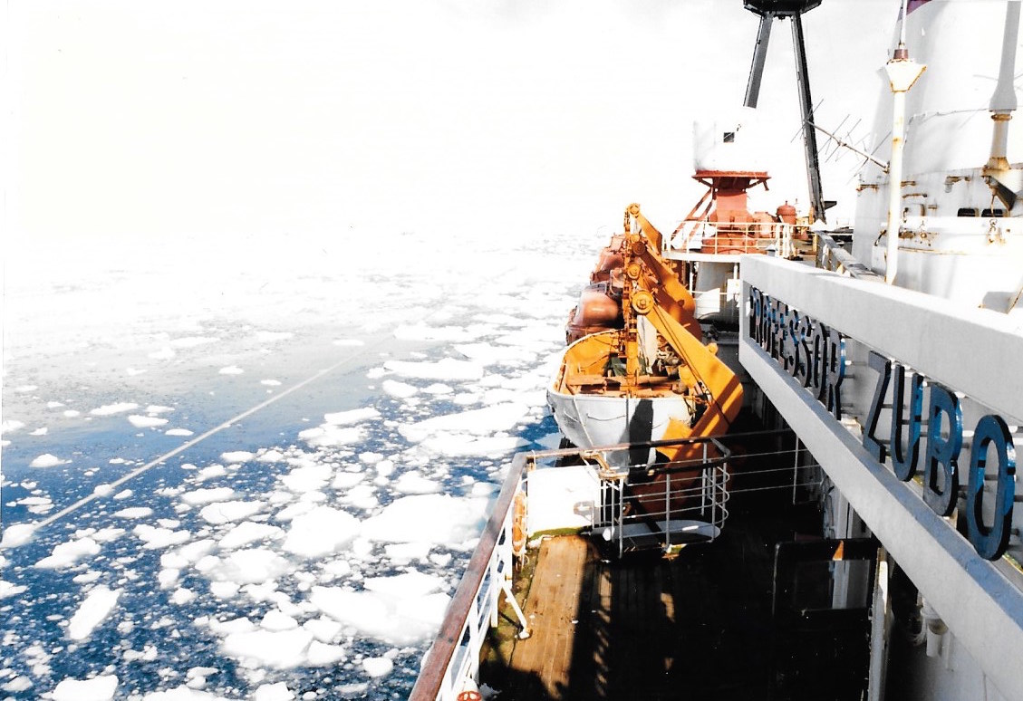 "The  Professor Zubov's  departure  from Antarctica was made possible by a sudden storm that opened up the harbor only long enough for the ship to leave. ""It was a miracle,"" the captain said. Photo: Jacqui Banazynski"
