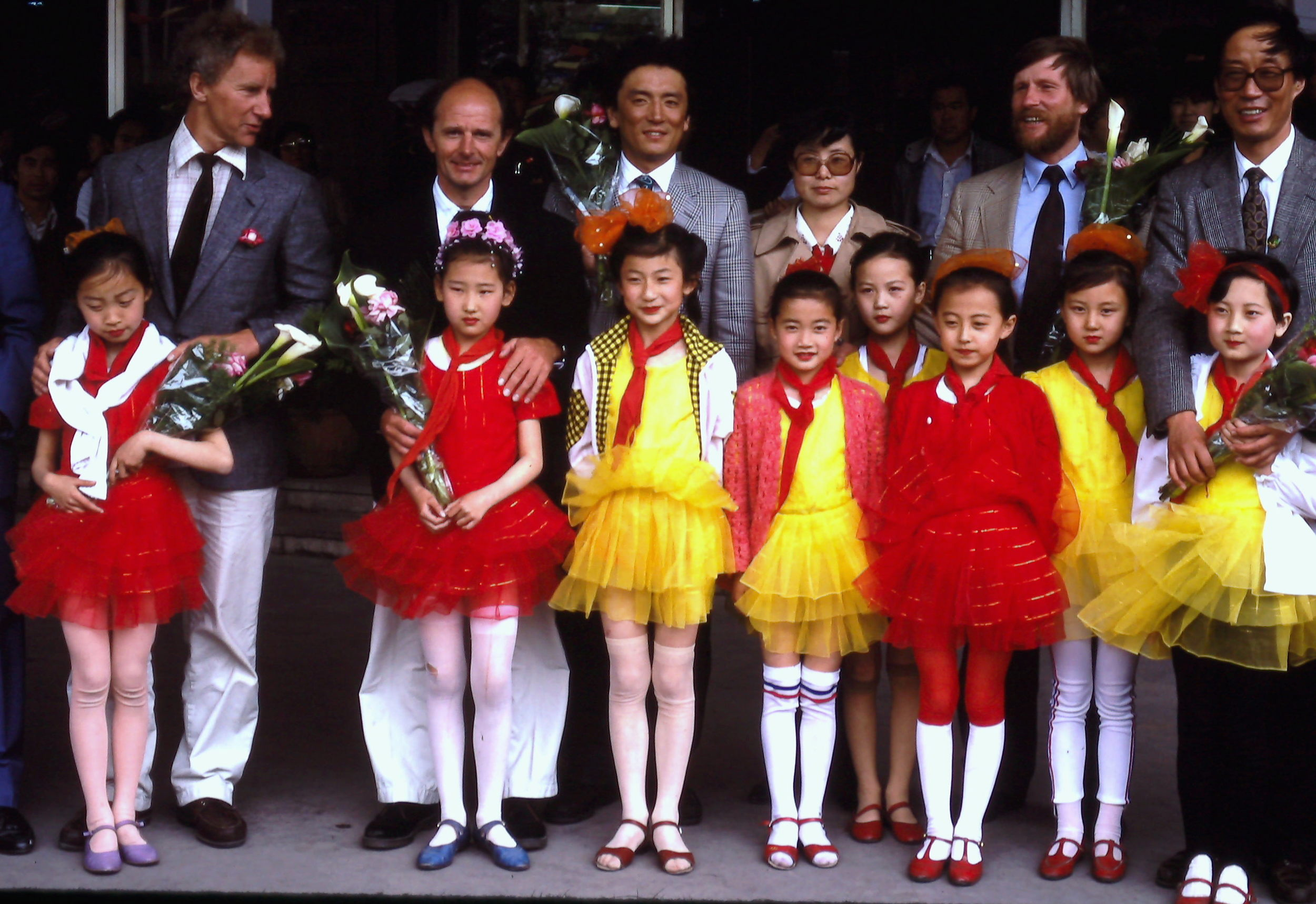 The 1990 International Trans-Antarctica Team is greeted at the Beijing airport, May 1990. Photo: Cynthia Mueller.