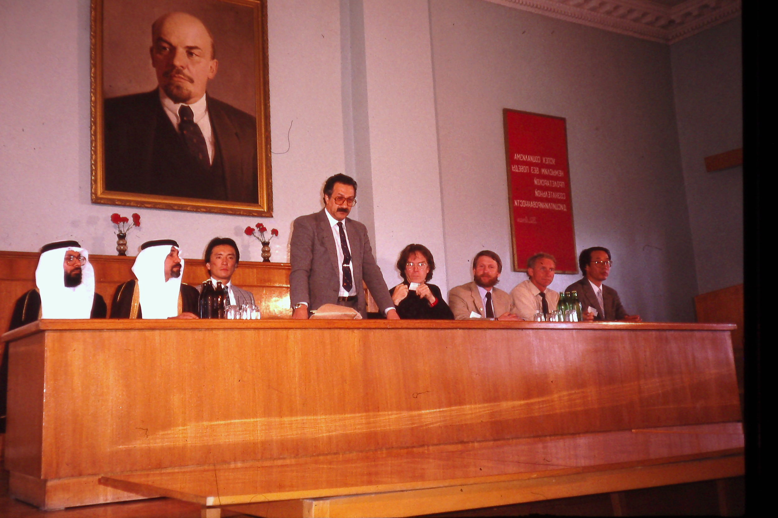 Artur Chilingarov, head of the USSR Polar Programs, holds a press conference with the members of the International Trans-Antarctica Expedition. June 1990. Photo: Cynthia Mueller