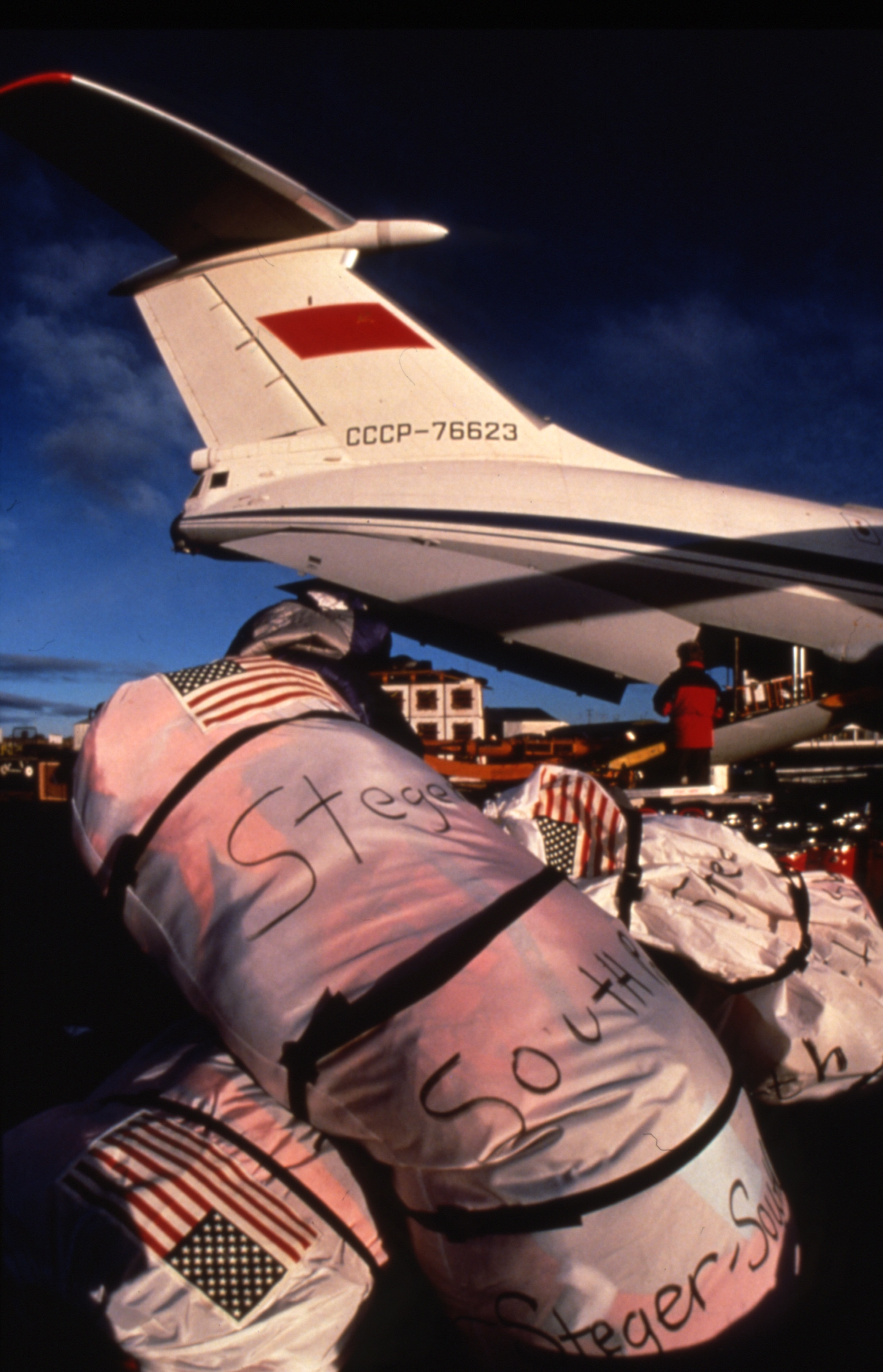 Replacement gear,  marked with its final destination, was shipped in the Soviet plane to King George Island to await a later resupply flight to the team. Photo © Will Steger