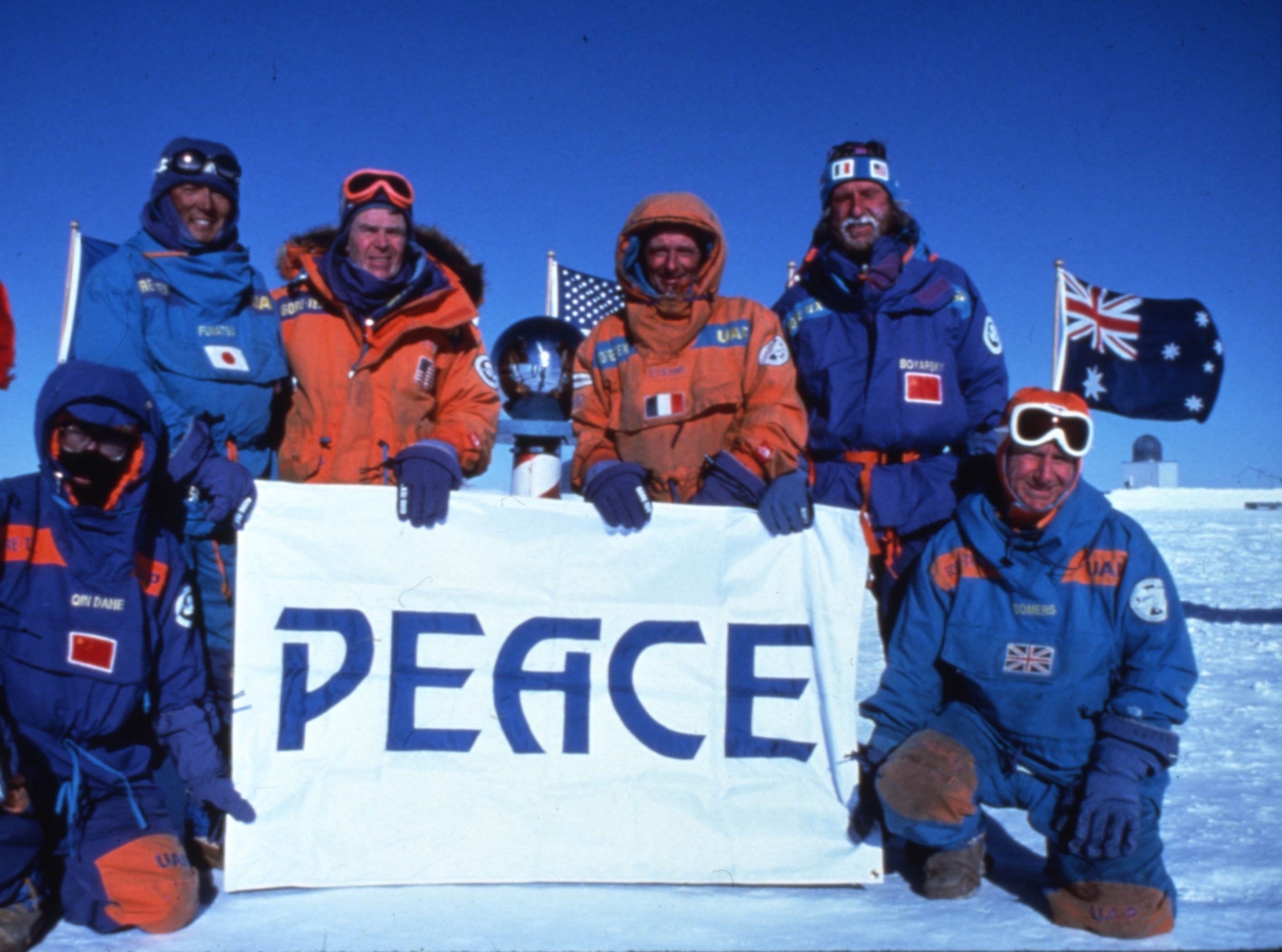 The 1990 International Trans-Antarctica Expedition sent a message to world leaders from the South Pole, half way through their journey, urging renewal of the Antarctic Treaty. ©Will Steger Photo by Gordon Wiltsie
