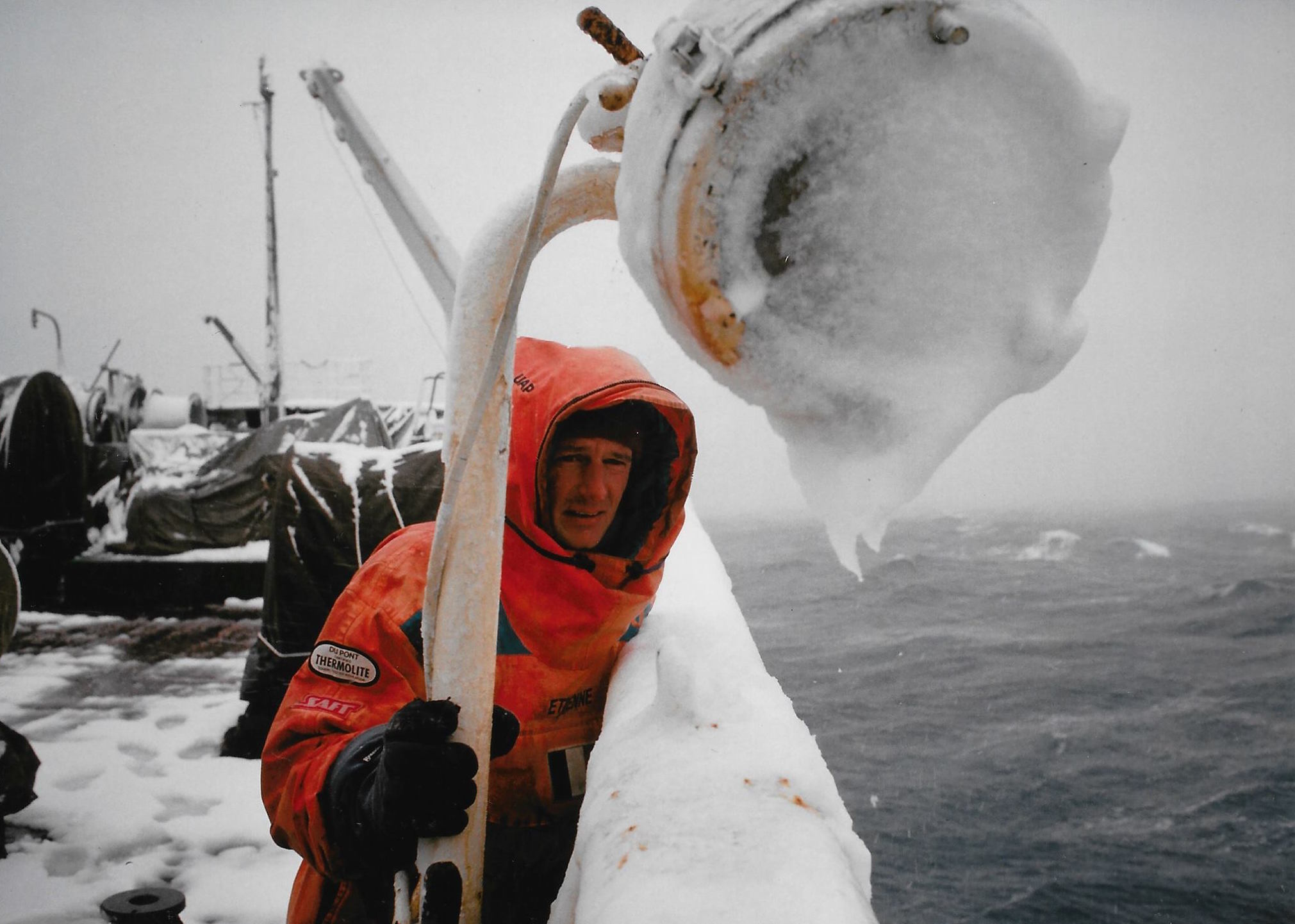 Jean-Louis Etienne watches Antarctica recede from view onboard the  Professor Zubov  at expedition's end. March 1990. Photo: Laurent Chevalier