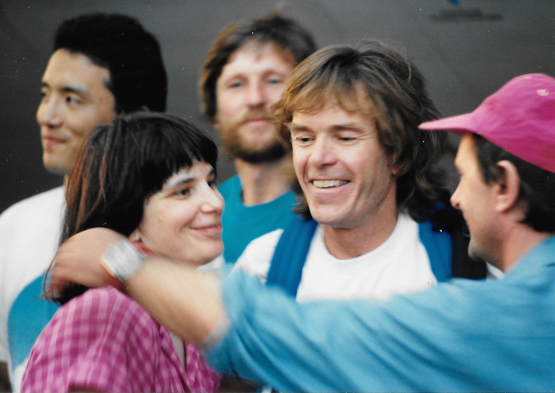 One last emotional good-bye before the expedition takes off from Minneapolis, MN. July 16, 1989.From left: Cathy de Moll, Will Steger, Jean-Louis Etienne. In back: Keizo Funatsu and Victor Boyarsky. Photo: Jack Dougherty
