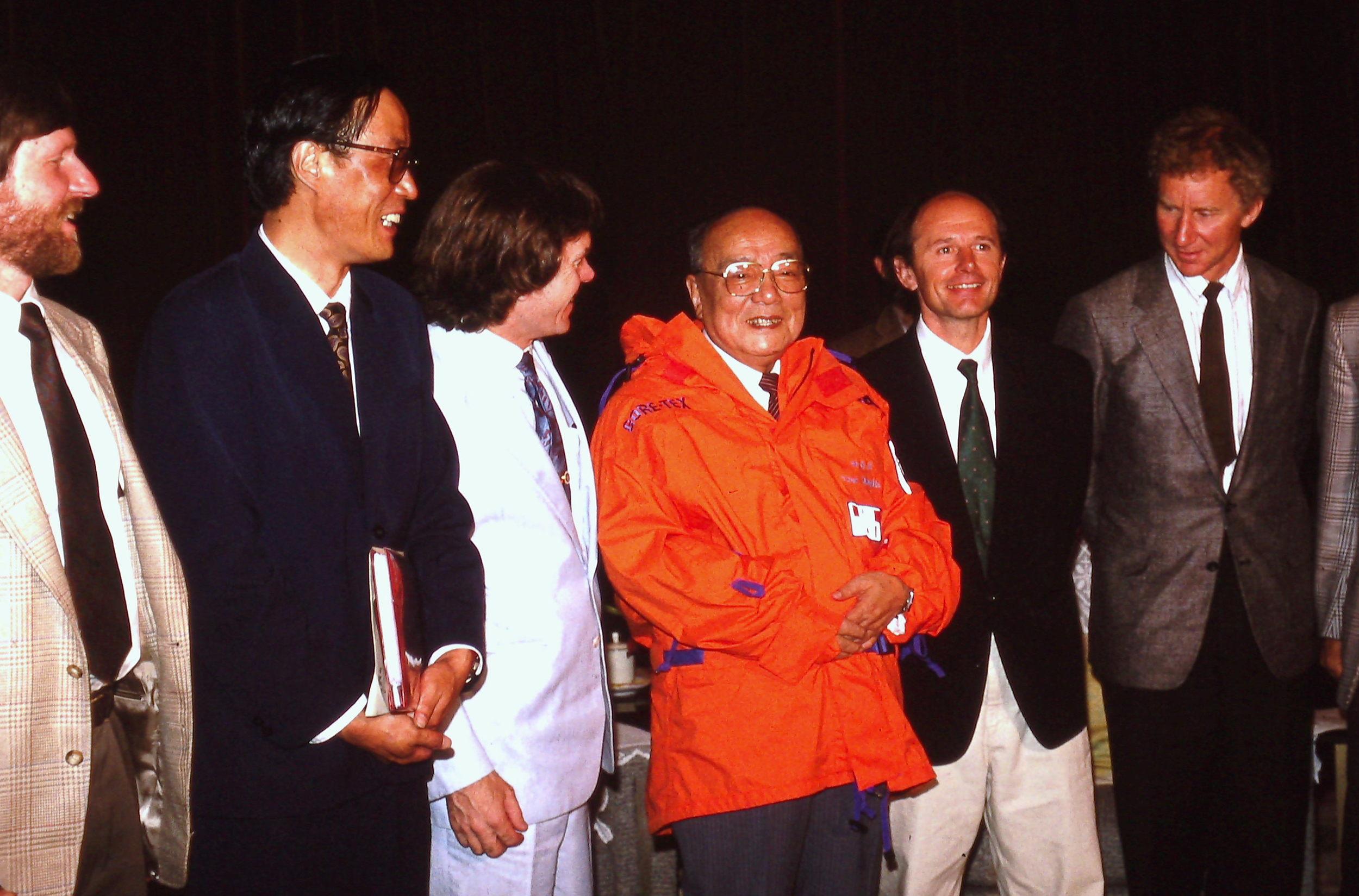 People's Republic of China President Yang Shangkun tries on his Trans-Antarctica jacket. May 1990. Photo: Cynthia Mueller