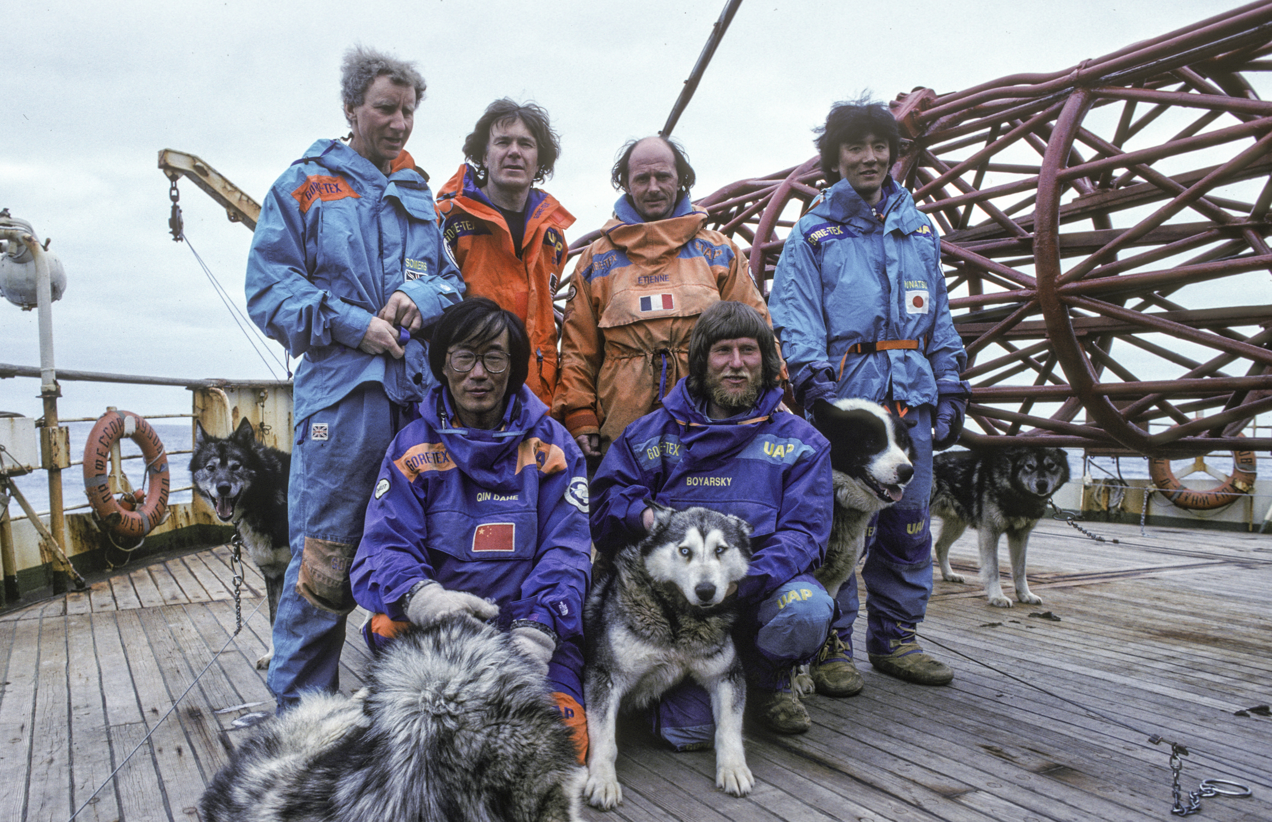 The weary team poses on board the  Professor Zubov , March 1990. ©Trans-Antarctica, photo by Per Breiehagen