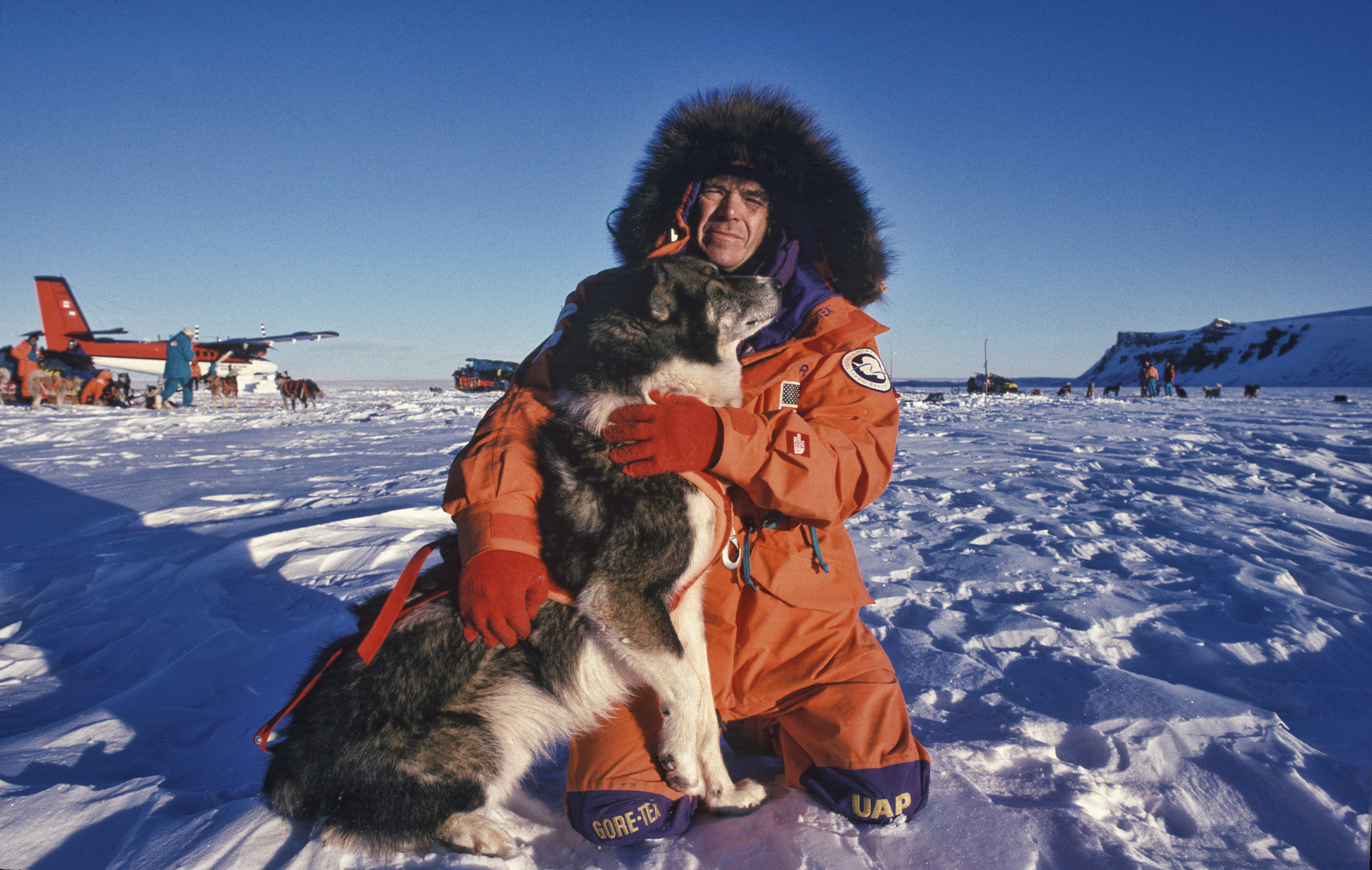 Will Steger as team prepares to head out on day one. July 1989.©Trans-Antarctica photo by Per Breiehagen