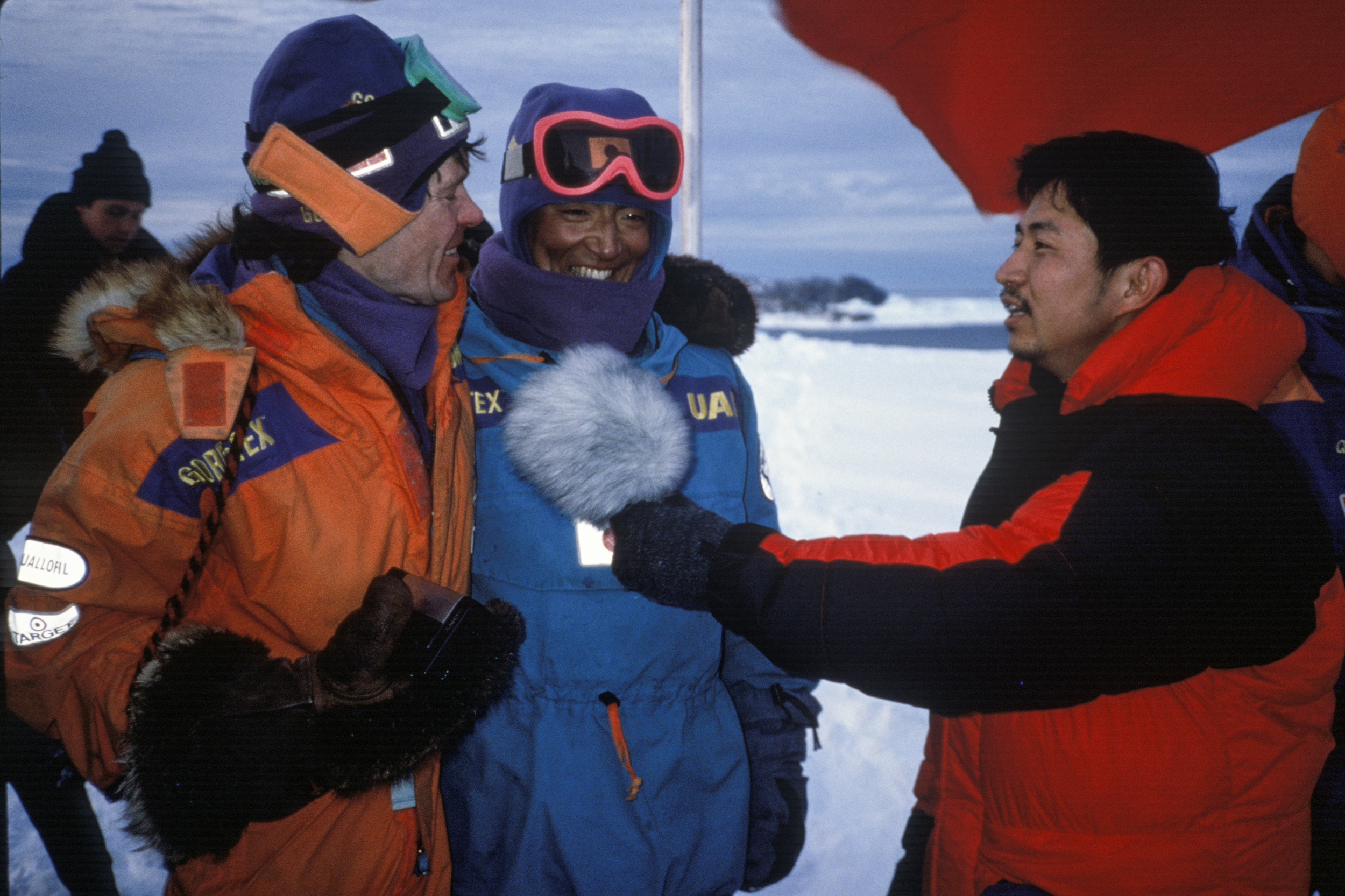 Will and Keizo are interviewed at the finish line by TBS reporter, March 3, 1990. ©Trans-Antarctica, photo by Per Breiehagen