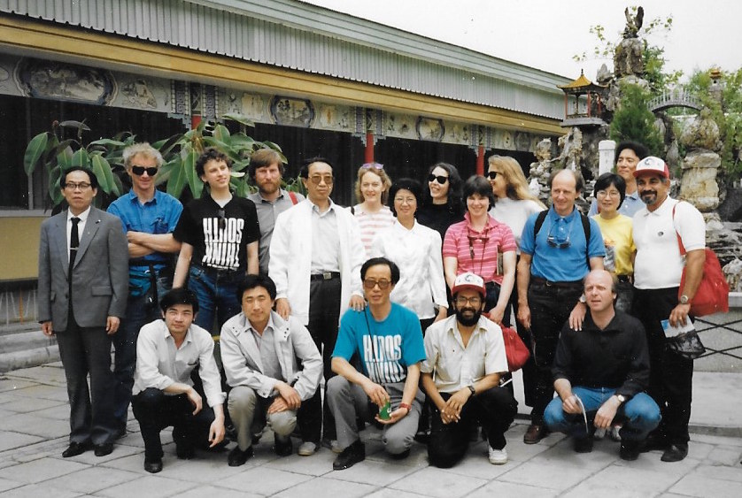 Zhou Qinke (center) and Trans-Antarctica entourage poses for the umpteenth time, Beiing 1990. Photographer: unknown