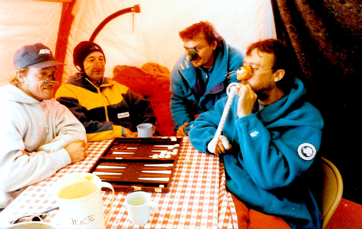 "Backgammon tournament among the Trans-Antarctica ""captives"" at the Patriot Hills base camp. Photo: Jacqui Banaszynski"