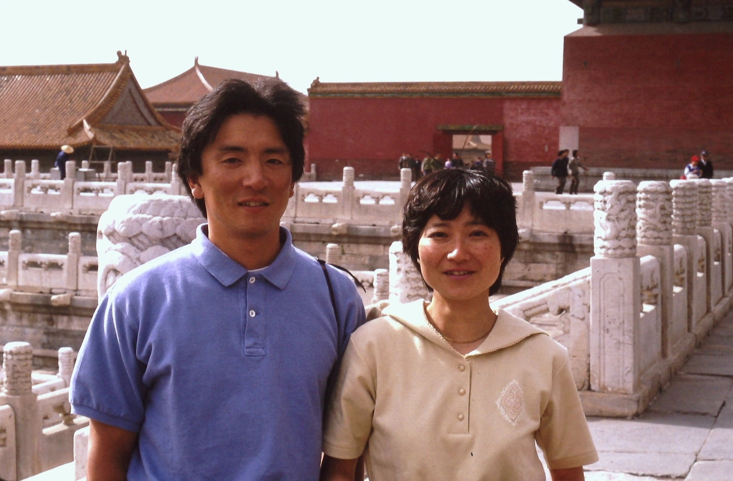 Keizo Funatsu and Yasue Okimoto in the Forbidden City, Beijing, May 1990. Photo: Cynthia Mueller