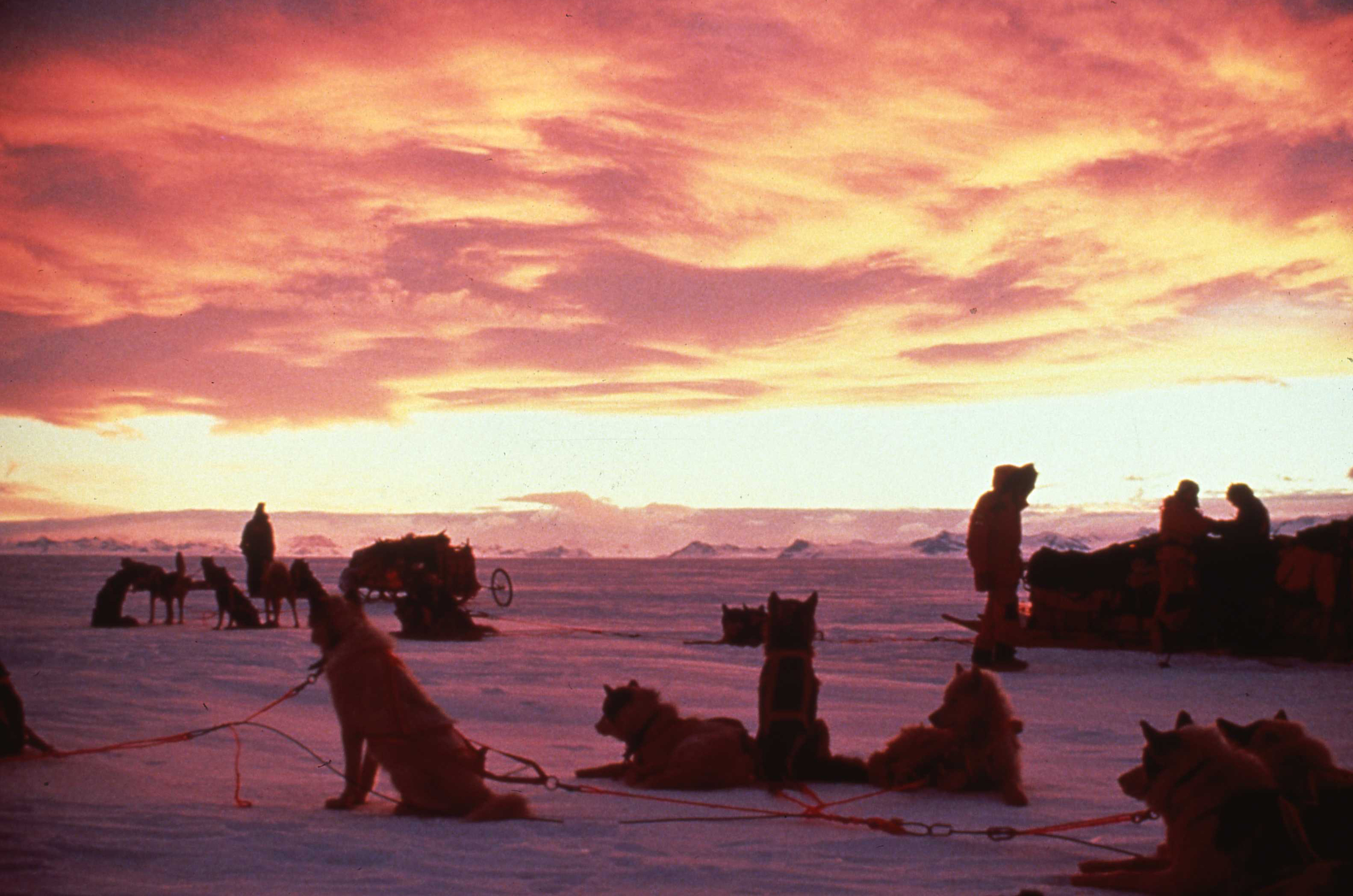 Because the expedition was expected to take seven months, the team had to begin and finish in Antarctic winter, traveling in a perpetual sunset. ©Will Steger by Rick Ridgeway