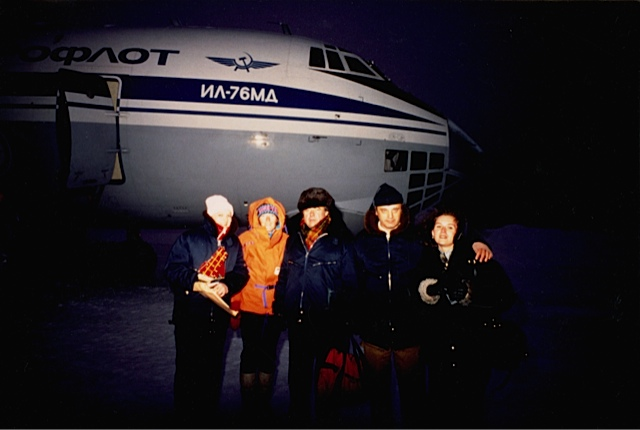 Valery Skatchov, center, and Russian passengers (Jennifer Gasperini in orange). Photograph unknown