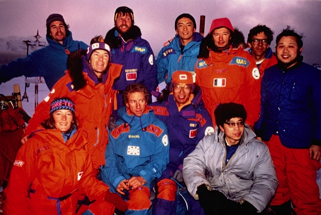 Team and Trans-Antarctica crew pose with members of the Chinese base, the Great Wall Station. Photographer unknown