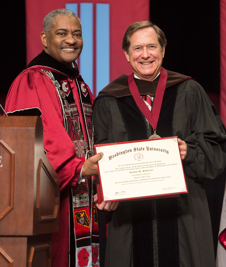 The late Washington State University President Elson S. Floyd and Jordan D. Schnitzer, Washington State University, 2014