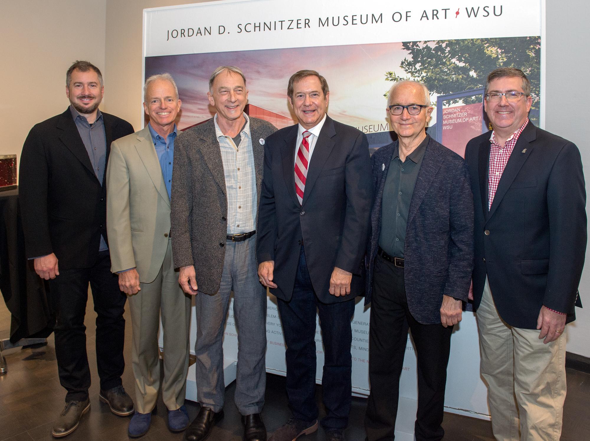 Steven Rainville, Olson/Kundig; H.S. Wright, III; Chris Bruce, Director, Museum of Art/WSU; Jordan D. Schnitzer, Philanthropist; Jim Olson, Olson/Kundig; WSU President, Kirk Schulz