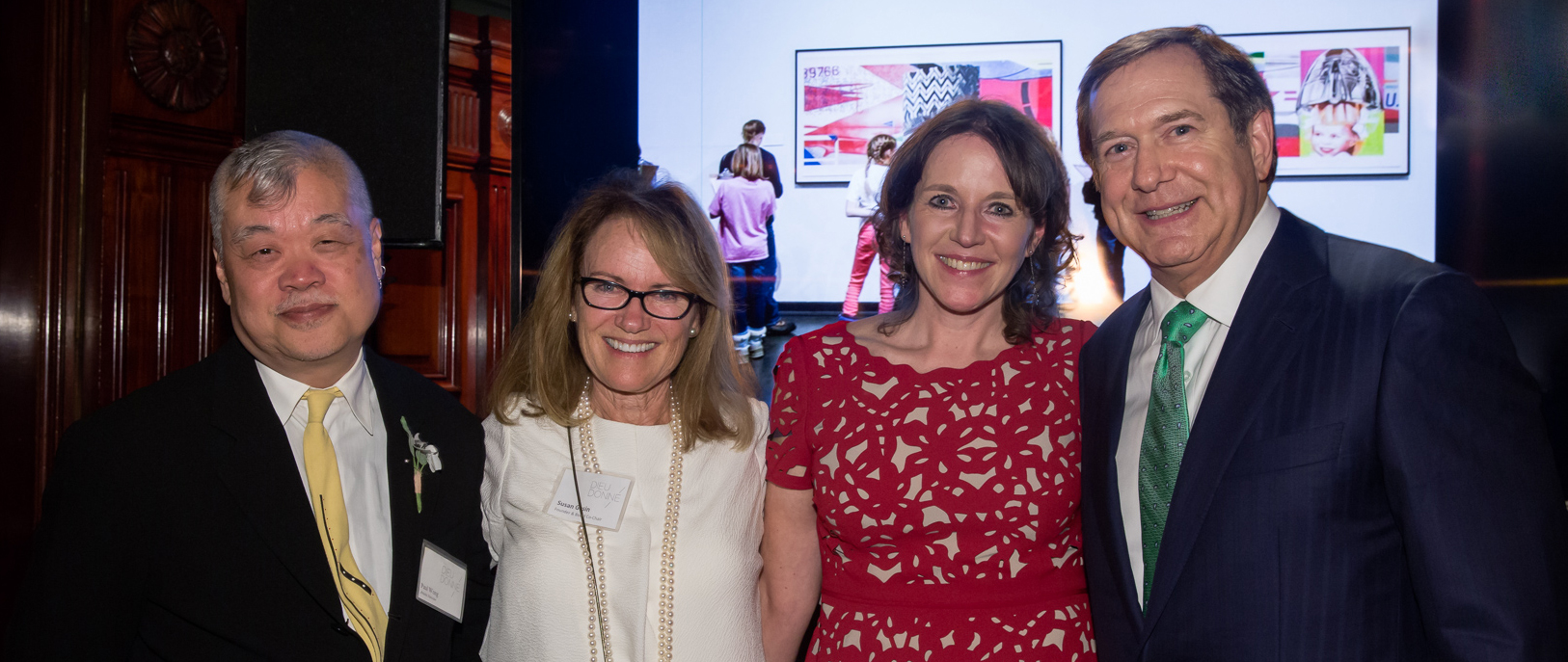 Dieu Donné honoree Paul Wong, Founder & Co-Chair Susan Gosin, Executive Director Kathleen Flynn, and honoree Jordan D. Schnitzer at the Annual Benefit and Auction, 2016. Photo credit: Etienne Frossard