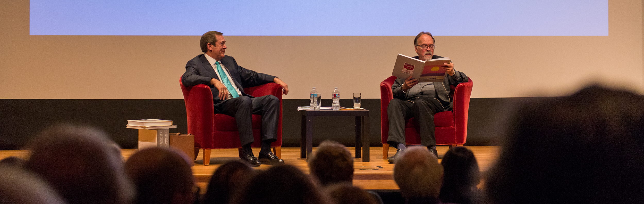 Jordan D. Schnitzer and Rick Axsom discuss Andy Warhol at the Portland Art Museum's lecture,  Collecting Warhol: A Conversation with Jordan Schnitzer , 2016. Photo credit: Michael Robert