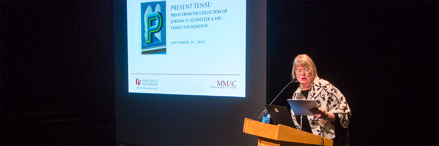 Barbara Koostra,Suzanne and Bruce Crocker Director of Montana Museum of Art & Culture, introduces guest speaker, Jordan D. Schnitzer at the  Present Tense: Prints from the Collections of Jordan D. Schnitzer and His Family Foundations  exhibition event, 2016