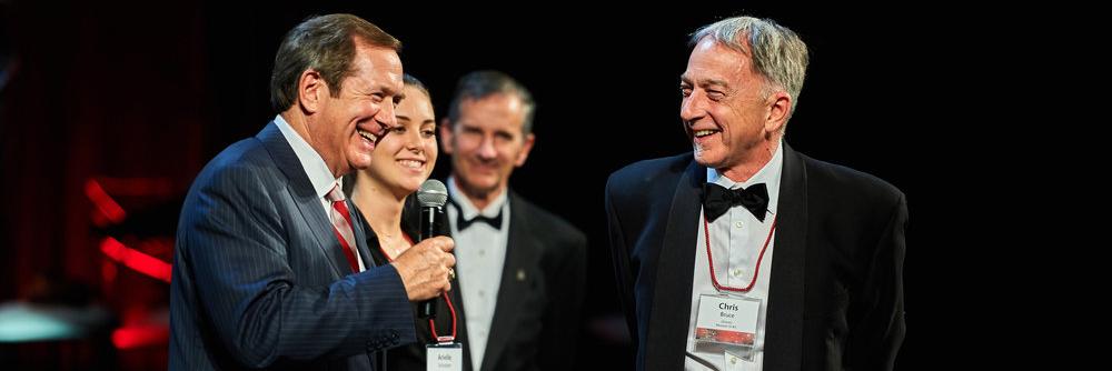 Jordan Schnitzer, Arielle Schntizer, and WSU Museum Art Director, Chris Bruce, at the WSU Foundation's 37th Annual Recognition Gala, Pullman WA, 2016