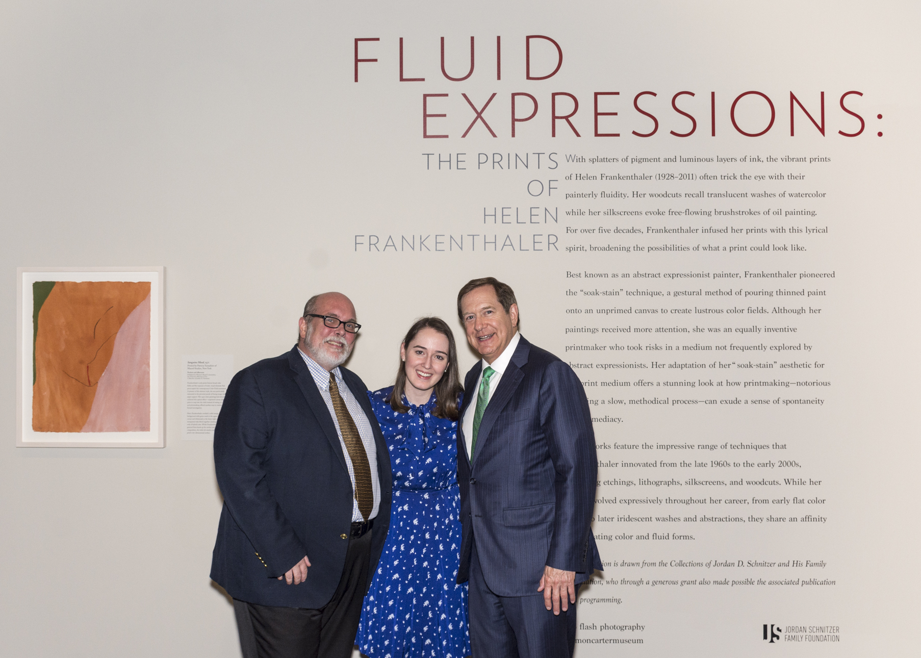 Andrew J. Walker, Director of Amon Carter Museum of Art, Michaela Haffner, Assistant Curator,  and Jordan D. Schnitzer, Collector, at the opening reception of  Fluid Expressions: The Prints of Helen Frankethaler , 2017.