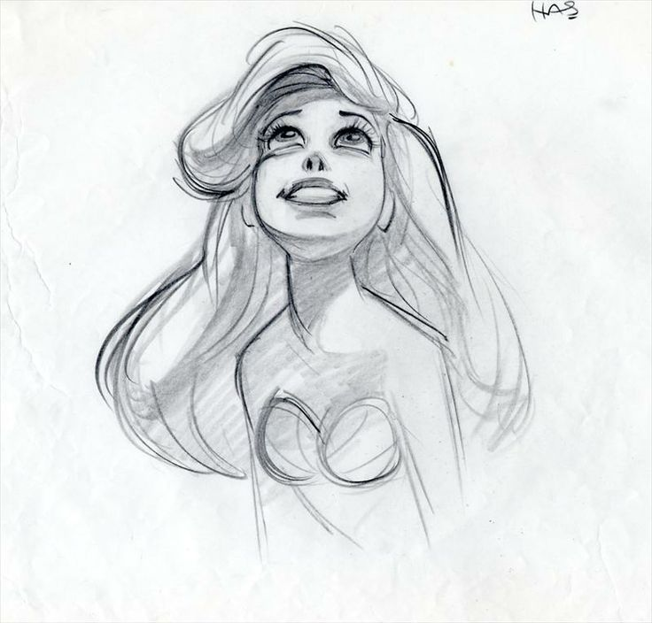 Glen Keane's animation drawing from the Part of That World sequence in The Little Mermaid (1989)