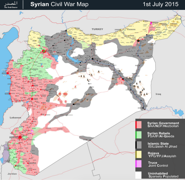 Map of the Syrian Civil War. Source .