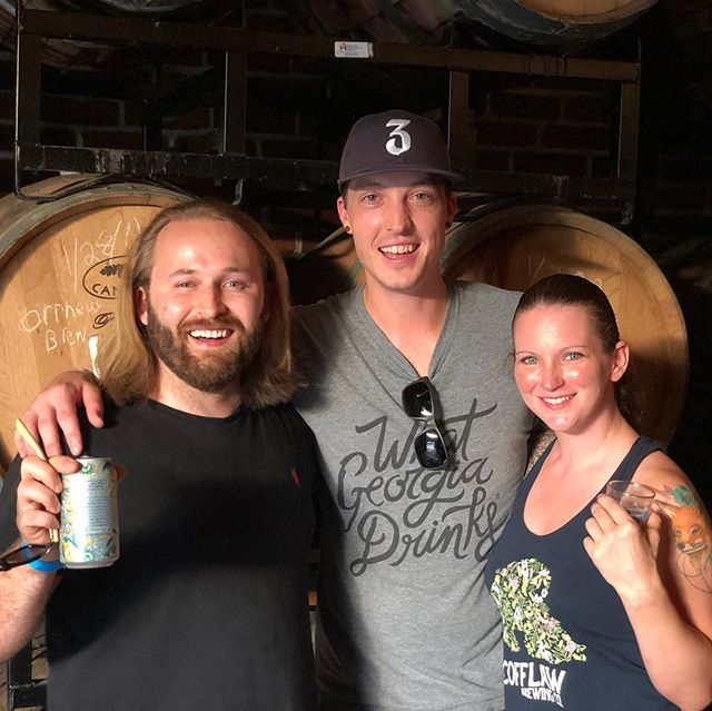 Riley enjoying a little post fest fun in Greenville at @bfsbeer with Peter and Dionysia of @mondaynight and @scofflawbeer. Great festival and cool crowd. Thanks Birds Fly South. See you next year.