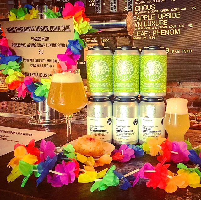 Today's newest brewery only Sour Asylum release pairs mini-pineapple upside down cakes from @ladolcemadness with our Pineapple Upside Down Luxure. Close your eyes and you may not be able to tell the beer from the cake. Ukiyo Premium Lager also available in 6 packs for the first time. #thebestviewisupsidedown