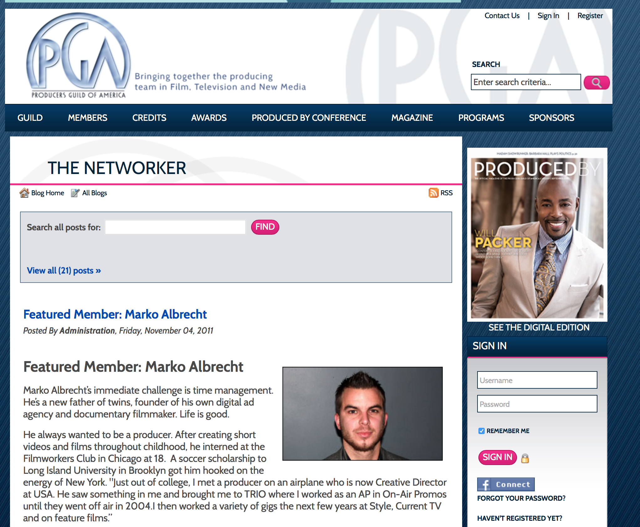 Marko Albrecht in Producers Guild of America THE NETWORKER