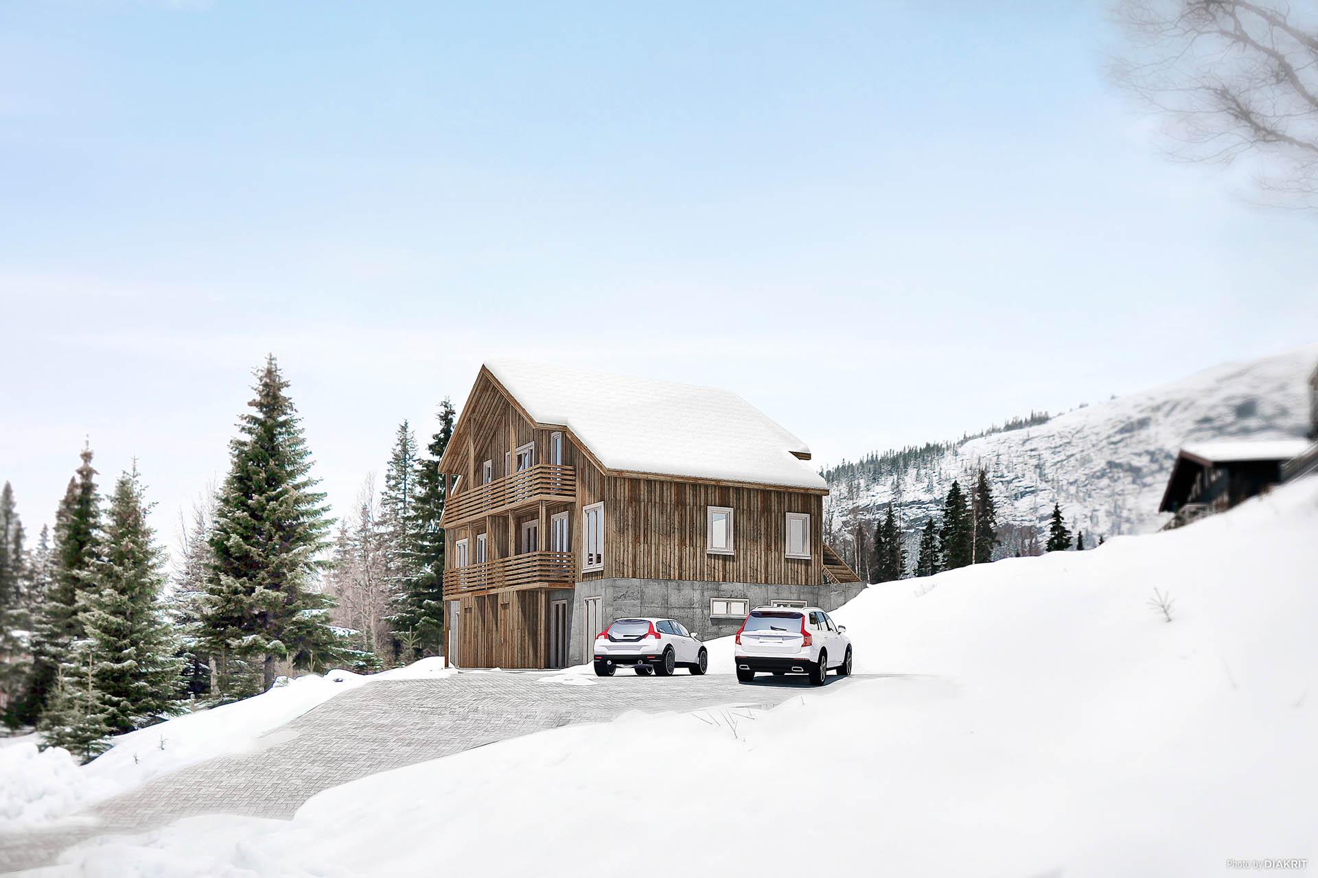 Tege Lodge 2 - renderad bild från mäklares säljmaterial