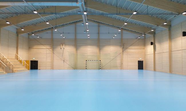 Strömsund sporthall bild från färdiga hallen källa:  www.attacus.se