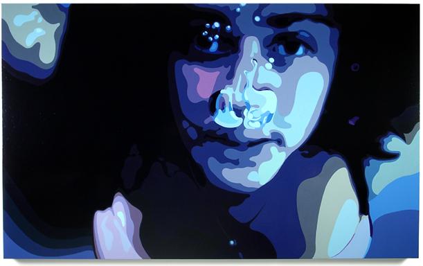 Underwater  , 44 x 77, Oil enamel on canvas
