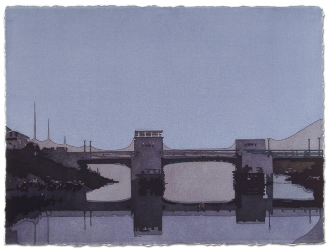 Beach lane Bridge  , 22 x 30, Watercolor on paper