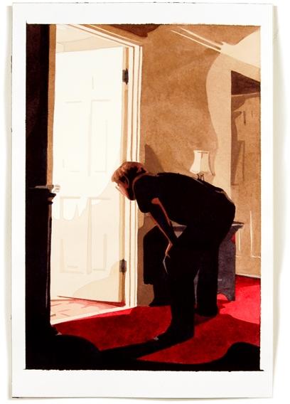 Man Bending Over, 12 x 8, watercolor