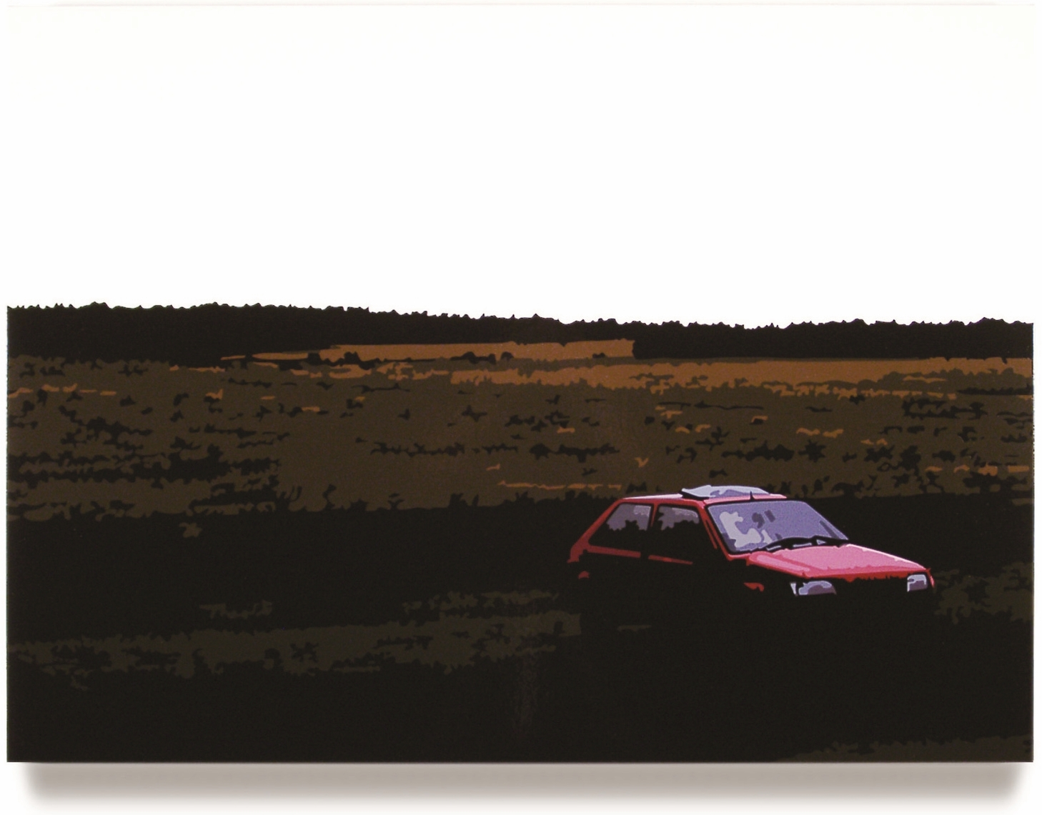 Red Car  , 32 x 43, Oil enamel on canvas