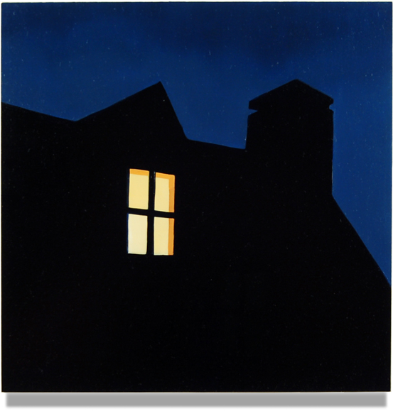 Dormer at Night , 2015, 10 x 10, Oil on Plexiglass Panel
