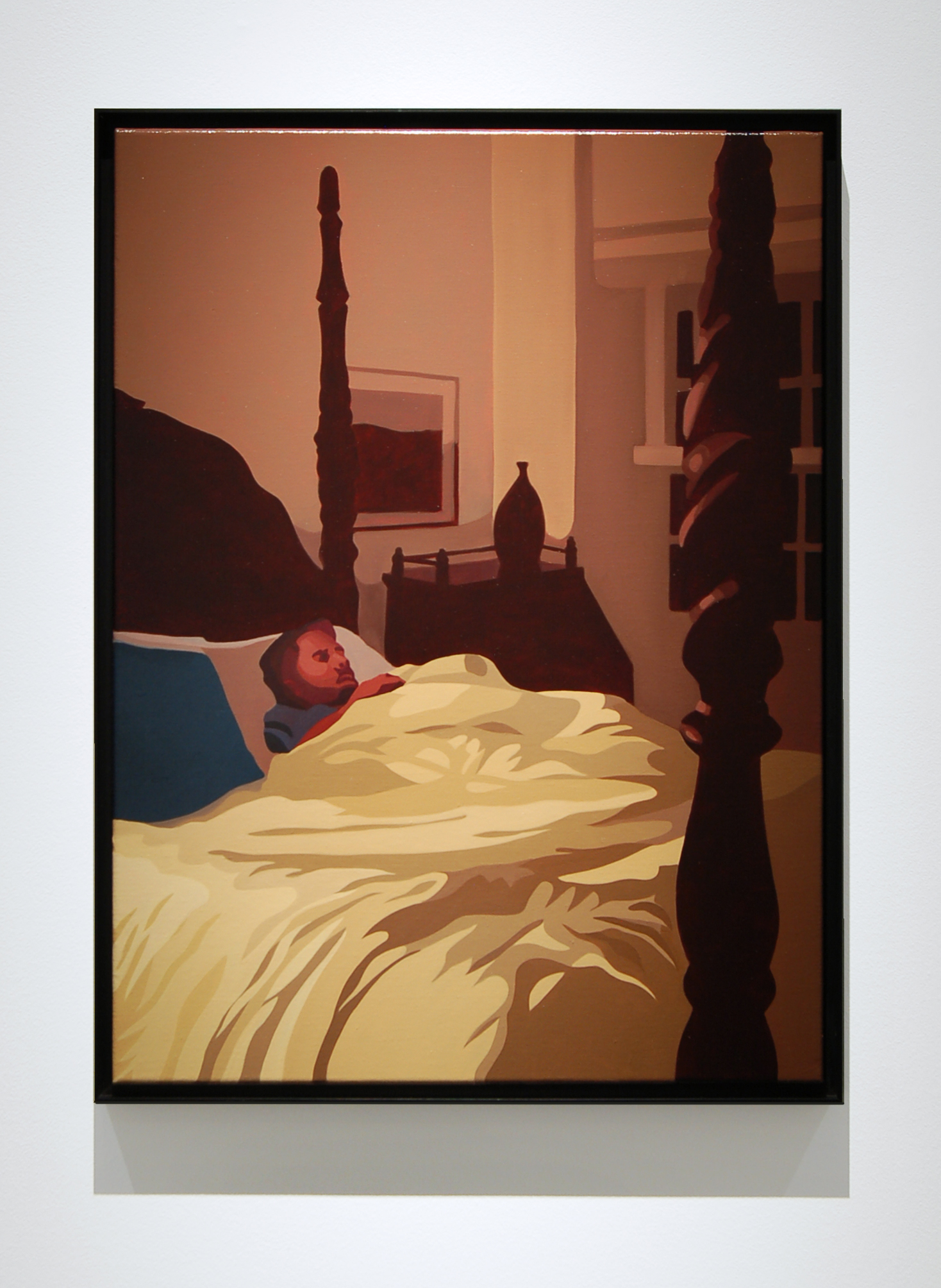 "Man in Bed , 2015, 24"" x 18"", Oil on Linen"