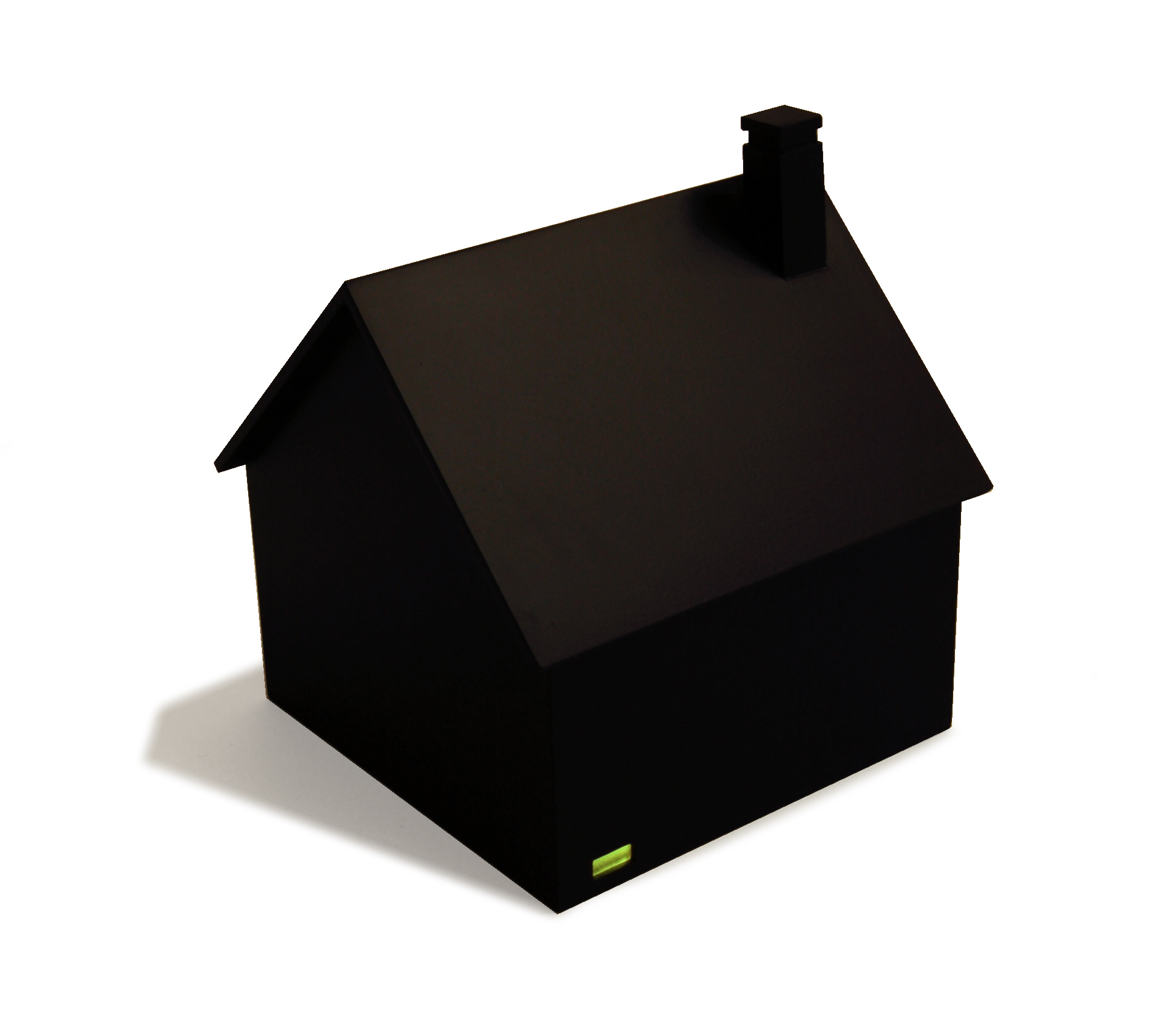 "House at Night I (Basement),  2015, 11"" x 11"" x 12.5"",painted wood, colored plexiglass, light bulb, battery."