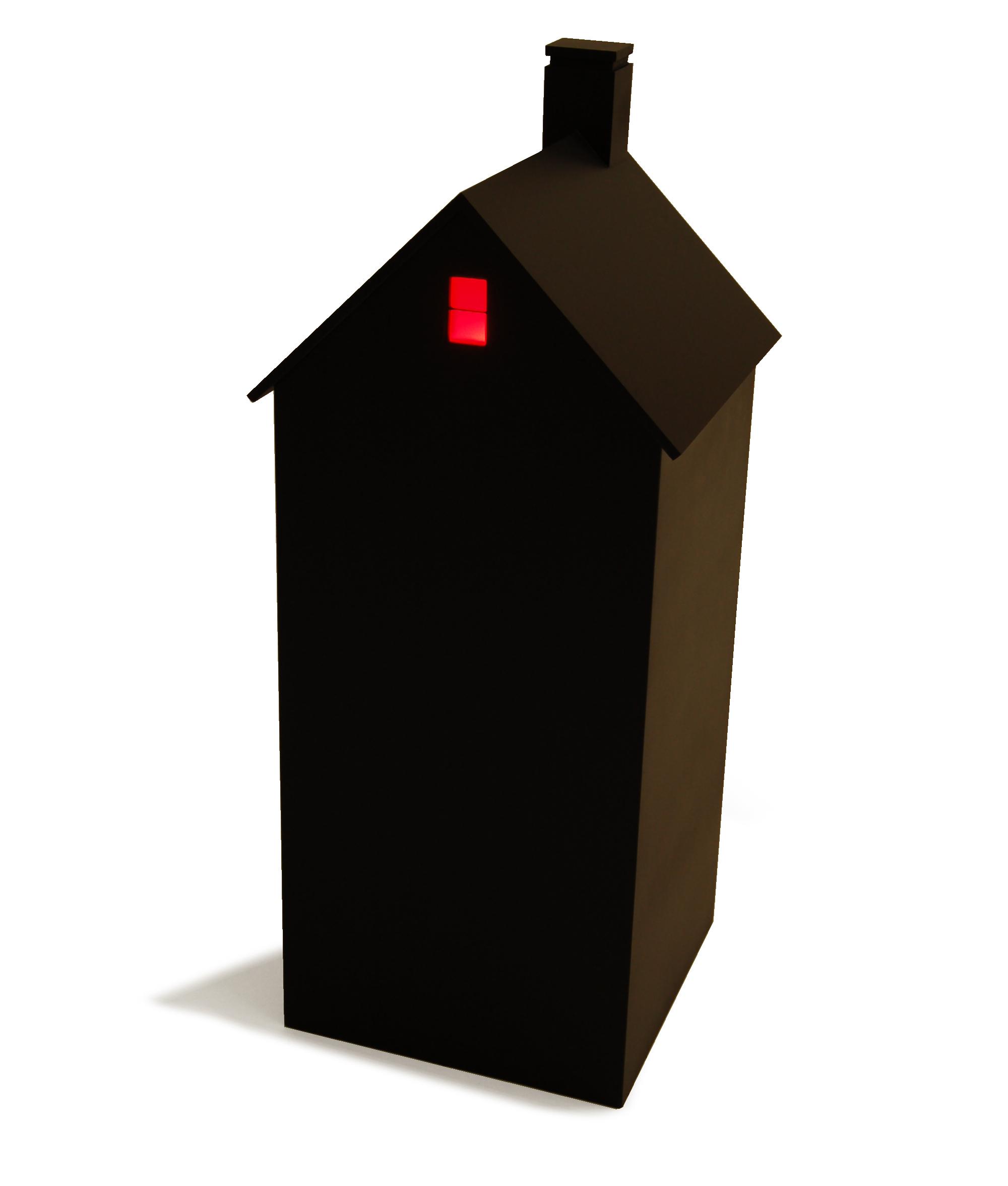 "House at Night III (Attic),  2015, 11"" x 11"" x 27"",painted wood, colored plexiglass, light bulb, battery."