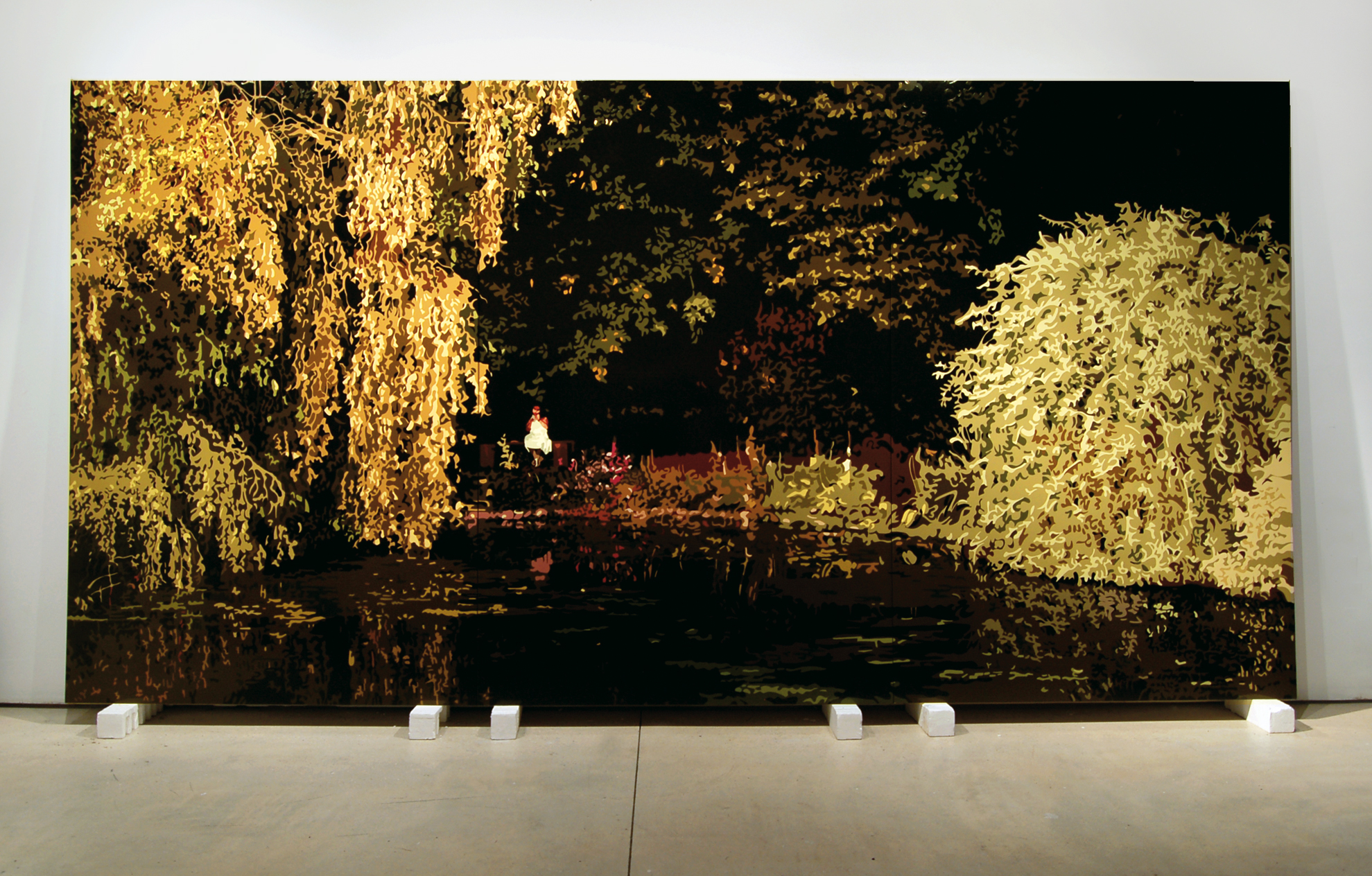 Gardens at Cadhay,  2007, 12' x 7', Oil Enamel on Canvas Over Panel